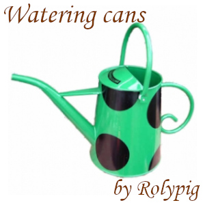 Green straight-spout watering can