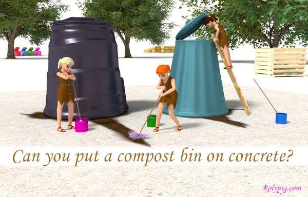 Can you put a compost bin on concrete?